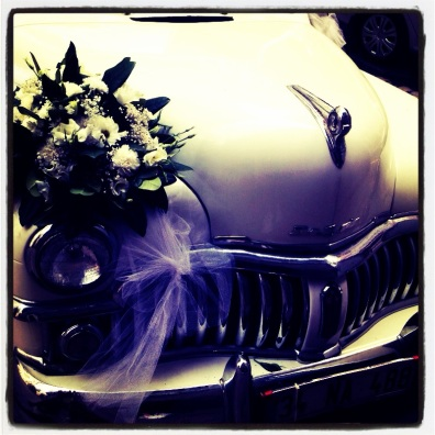 wedding car ready to go