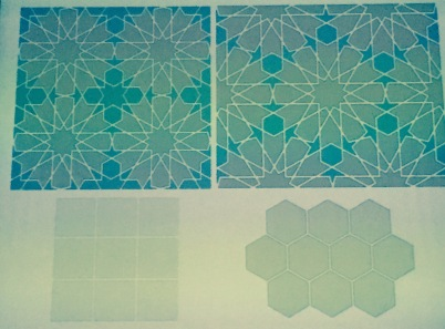 example: square grid (fourfold pattern) and a hexagon grid (sixfold pattern)